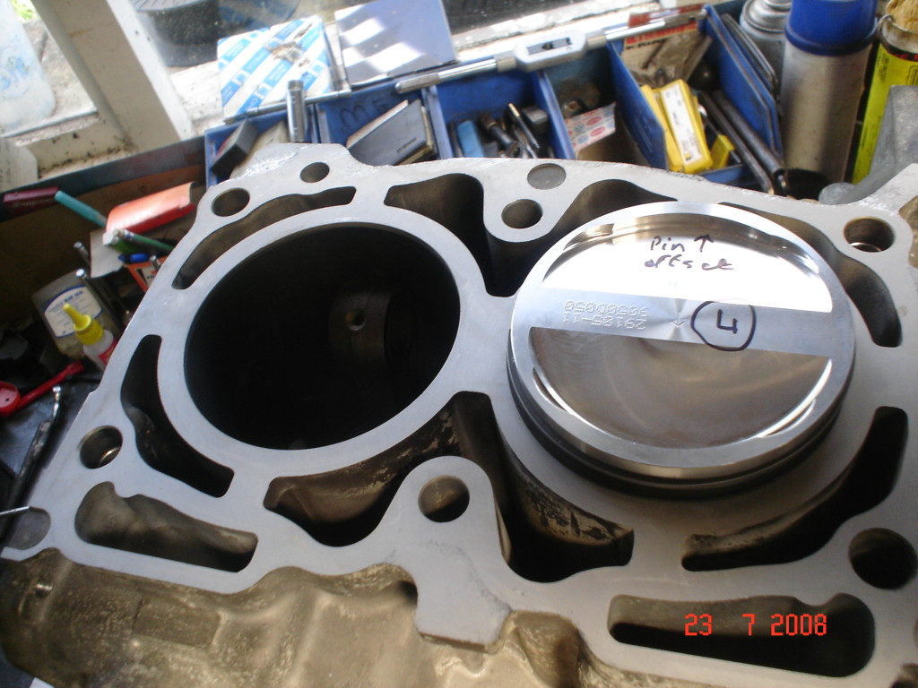 Subaru block rebored with Wossner pistons.