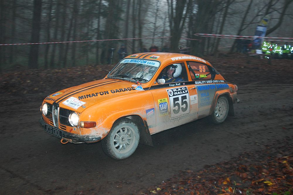 Ceiriog Hughes and Emyr Hall. Saab V4, 2013 Roger Albert Clark rally