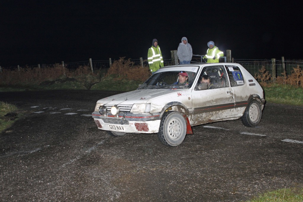 Baz Green and Rob Jones. Peugeot 205Gti. Farrington Trophy rally.