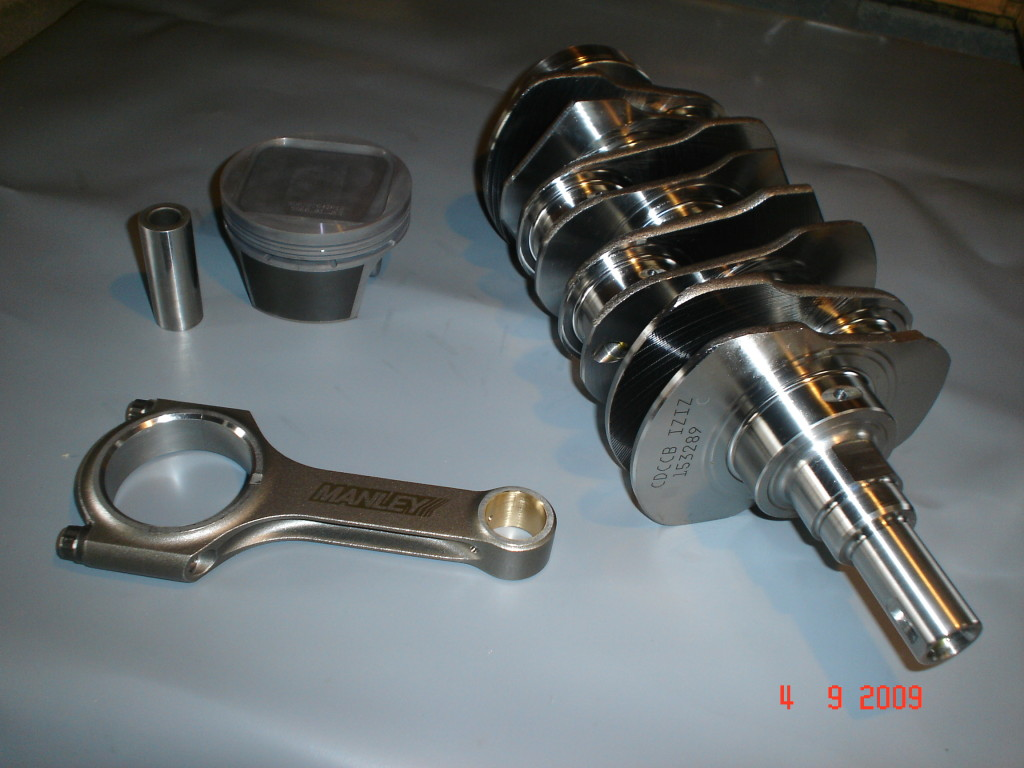 Reground crank, steel conrod and forged piston.
